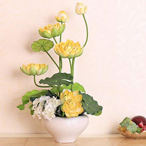 xgruisi Flores Artificiales Lotus Lotus Buddha En El Ramo De Decoración para El Hogar con Olla De...