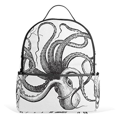 JSTEL Octopus - Mochilas escolares en blanco y negro para niños
