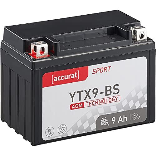 Accurat Motorradbatterie YTX9-BS 9Ah 120A 12V AGM-VRLA-Technologie Starterbatterie robust auslaufsicher & wartungsfrei