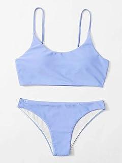 Sutinna Bikini de Traje de baño Delgado de Color sólido de Varios Estilos