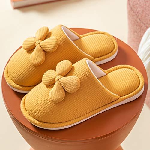 YWSZJ Zapatillas Mullidas para Mujer, Toboganes De Piel, Zapatos Cálidos De Invierno, Lindo Resbalón En El Talón, Hogar, Interior (Color : Yellow, Size : 36-37)