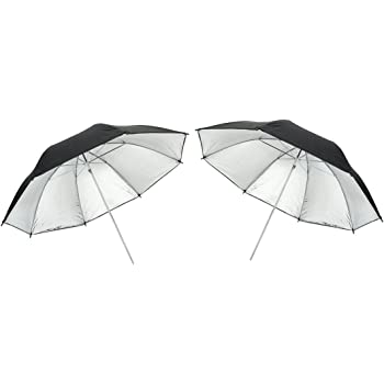 Aexit 2Pcs 36 Lighting fixtures and controls 90cm Black Silver Reflector Umbrella for Photography Studio Light Flash