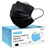 Lot de 50 Masque Noir Chirurgical médical jetable en Noir Masque de Protection Type I EN14683-2019,...