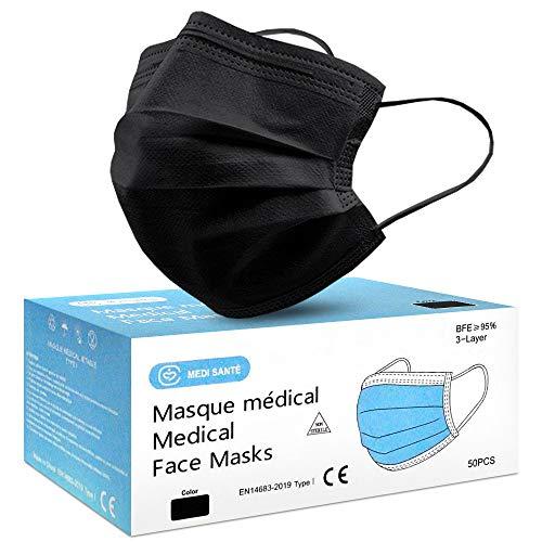 Lot de 50 Masque Noir Chirurgical médical jetable en Noir Masque de Protection Type I EN14683-2019, BFE≥95%, 3 Plis MEDI SANTÉ