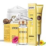 Uniqus EFERO - 1 crema de colágeno para ojos, esencia de círculos oscuros + 1 unidad de seis péptidos líquido anti arrugas + 1 crema facial blanqueadora