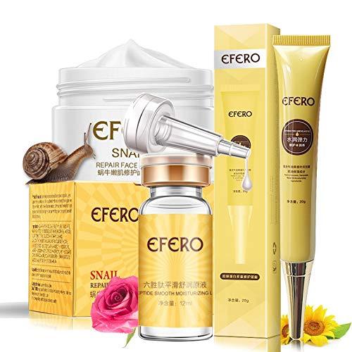 Uniqus EFERO- 1 crème contour des yeux au collagène Essence cernes + 1 crème liquide 6 peptides anti-rides + 1 crème blanchissante pour le visage
