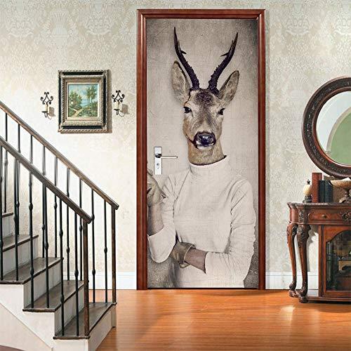 Luckyyy Abstracte Deer Body 3D-deursticker lijm waterdicht behang wooncultuur muurkunst kinderkamer pasta poster