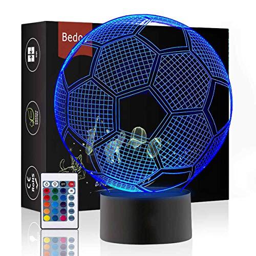 Preisvergleich Produktbild LED Nacht Lichter 3D Illusion Nachttisch Lampe 16 Farben ändern Schlafen Beleuchtung mit Smart Touch Button Nette Geschenk Warming präsentieren kreative Dekoration ideale Kunst (Fußball)