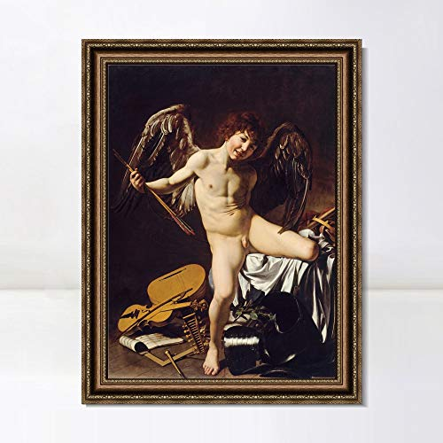 """INVIN ART Framed Canvas Art Giclee Print Cupid as Victor by Michelangelo Merisi da Caravaggio Wall Art Living Room Home Office Decorations(Vintage Embossed Gold Frame,28""""x40"""")"""