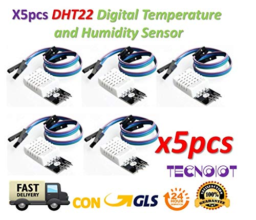 TECNOIOT 5pcs DHT22 / AM2302 Temperature And Humidity Sensor for Arduino And Raspberry Pi