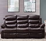 Harper & Bright Designs Classic Bonded Leather Sectional Recliner Sofa (3-Seat Sofa Recliner)