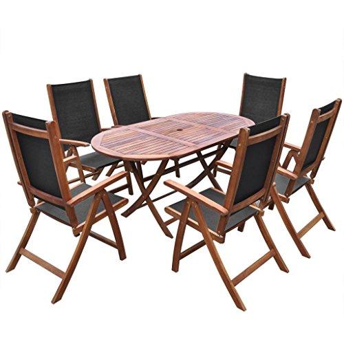binzhoueushopping Meuble de Jardin 7 pcs Haute qualité Pliable en Bois d'acacia Fini à l'huile Sombre et textilène Dimensions de la Table 160 x 85 x 75 cm (L x l x H) pour Votre Jardin