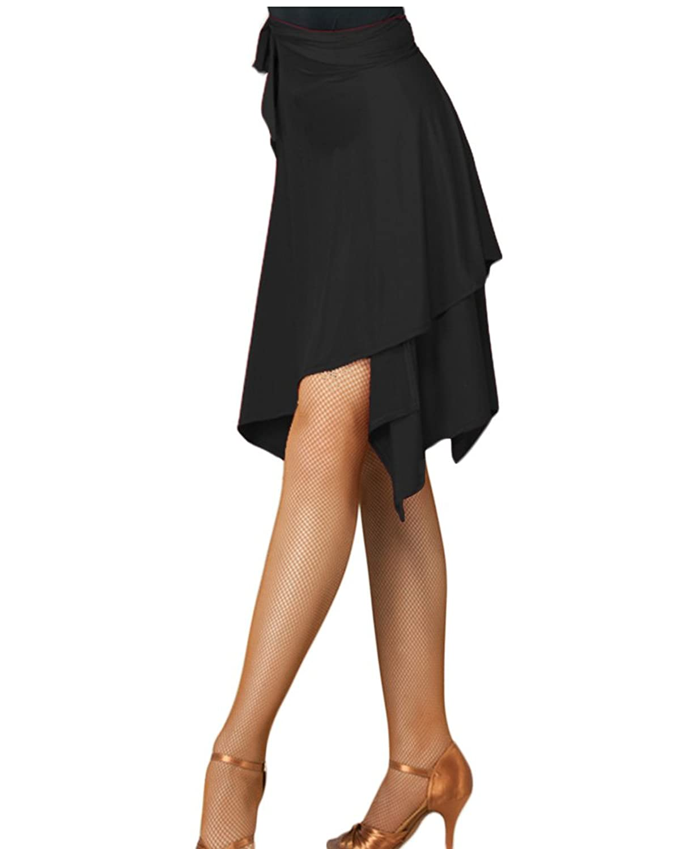 Dance Zone ダンススカート ラップスカート ミディアム アシメ フレア インナーパンツ付き レッスン 練習着 ラテン 競技ダンス 社交ダンス