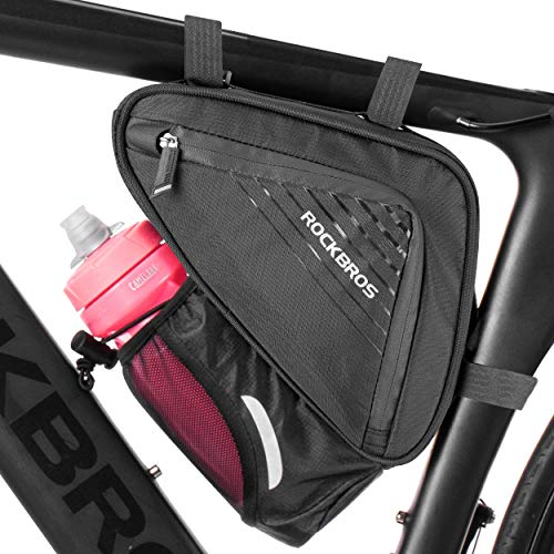 Rockbros, borsa triangolare per bicicletta, borsa per bicicletta, borsa di stoccaggio accessori per bicicletta con sacchetto per bottiglia d'acqua per bici da strada, mountain bike