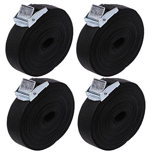 Eizurs - Juego de 4 Correas de Amarre con Hebilla de Metal para Fijar al portabicicletas (5 m x 25 mm), Color Negro