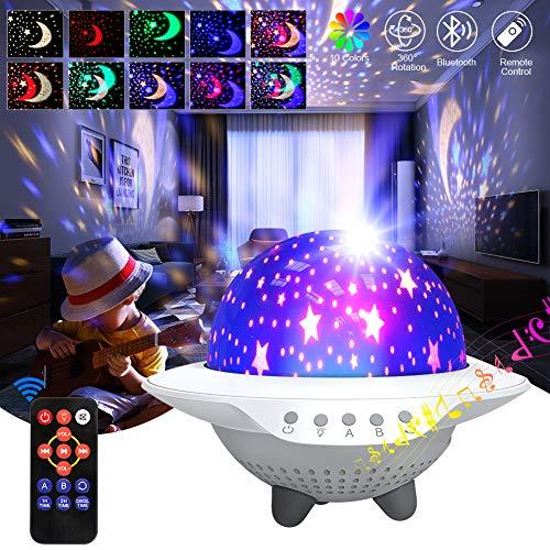 iBesi Sternenhimmel Projektor Sterneprojektor Licht Projektor Oberlicht für Schlafzimmerdecke, LED Projektionslampe Musik Himmelslicht Sternennachtlicht mit Bluetooth (Weiß)