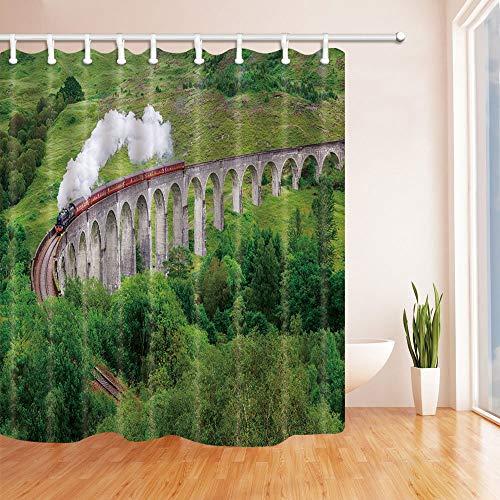 LRSJD Decoratieve rail voor locomotief, stoombaan, beugel, polyesterweefsel, waterdicht, 71 x 71 cm, met haken voor douchegordijn, incl.