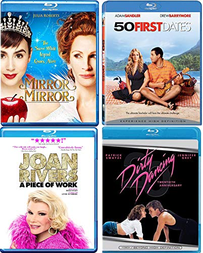 Princess Dance Dating Comedy Fun Blu Ray 4-Pack Mirror Mirror Snow White Tale Julia Roberts + 50 First Dates Drew Barrymore & Dirty Dancing Patrick Swayze & A Piece of Work Girls Night out!