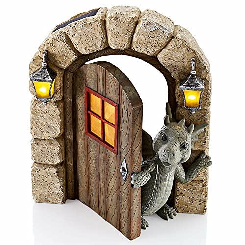 Kolylong® Schöne Hof Drachenskulptur, Drachen dekorative Skulptur Harz Home Decors Garten Ornamente für Garten, Balkon oder Outdoor Harz Handwerk
