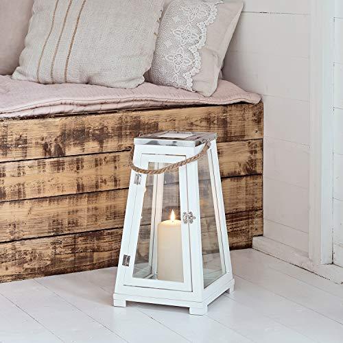 Lights4Fun - Lanterna Grande A Trapezio In Legno Bianco Con Set Di 3 TruGlow® Candele LED A Pile E Manico Di Corda Per Uso In Interni