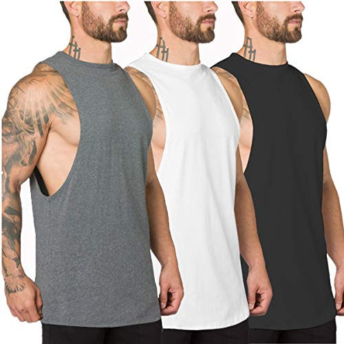 Muscle Killer 3 Pack Men's Muscle Cut Off Gym Workout Stringer Tank Tops Bodybuilding Fitness T-Shirts (Medium, Black+Gray+White)