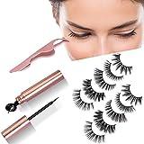 5 Pairs Magnetic Eyelashes With Eyeliner Kit, Reusable Natural 3D False Lash for Beautiful Eyelashes,No Glue Silk Lashes, Waterproof Sweat-Proof, Easier To Use Than Traditional Eyelashes(5 pairs)