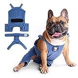 iChoue Hunde-Hosenträger-Pyjama mit Windeln, waschbar, für Hunde bei Hitze, mittelblau, mit 1 Windel