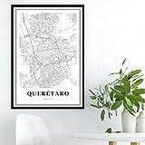 BNMVCX Carteles en Blanco y Negro impresión de Mapa de Querétaro México Calle Ciudad Mapa de Carreteras Cartel nórdico Sala de Estar hogar Pared Arte decoración Lienzo Pintura