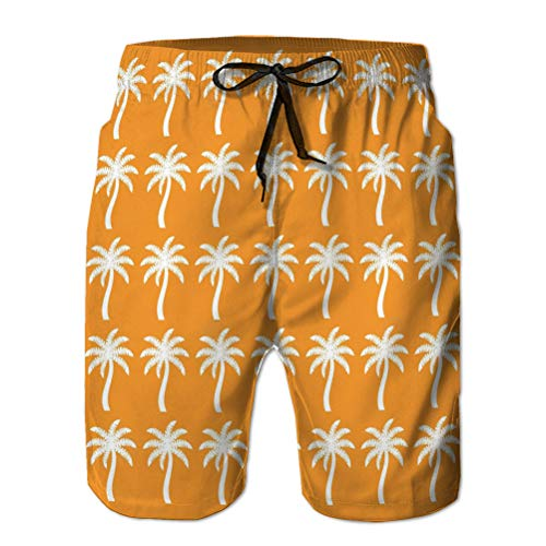 jiilwkie Casual Herren Badehose Quick Dry Printed Beach Shorts Palmen Baum Strand Symbol gra M