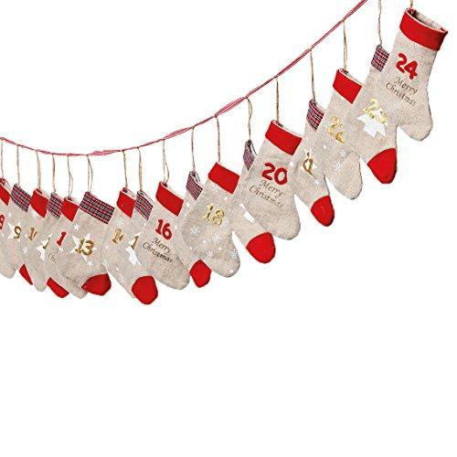 in due Adventskalender zum Befüllen 'Socken' Leinen rot Gold L260cm 24 Socken mit Aufhängung