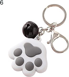 Sanwooden Cute Keychain Elegant Dog Cat Paw Small Bell Charm Car Keychain Key Ring Holder Bag Ornament Girl Fashion Accessories