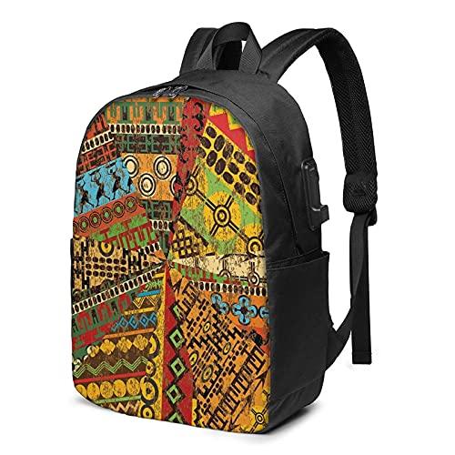 AOOEDM Mochila para portátil con puerto de carga USB, diseño africano, estilo tradicional, geométrico, para viajes, negocios, 17 pulgadas, para hombres, mujeres, escuela, universidad, mochila