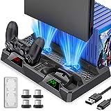 BEBONCOOL para PS4 Playstation Vertical Soporte Ventilador de Refrigeración Ventilador Sistema Pro Slim Controlador de Juego Soporte Estación de Carga Dock Pad
