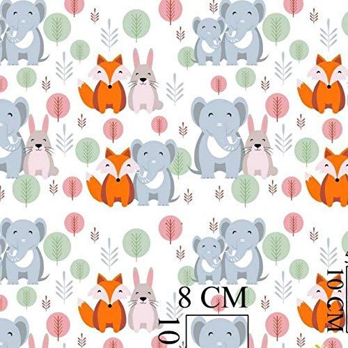 Pingianer Tessuto di cotone per bambini, al metro, motivo: elefante + volpe, 300 x 160 cm