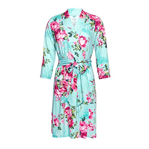 Posh Peanut Mommy Robe for Maternity, Labor Delivery Soft Nursing Lounge Wear, Viscose from Bamboo (Large) - Aqua