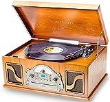 IVX22 Giradischi Multifunzione Bluetooth | Giradischi con Funzione di Codifica USB Riproduce e Registra MP3 | Lettore CD Radio FM | Design Vintage in Legno, Altoparlanti Incorporati. 3 velocità Vinile