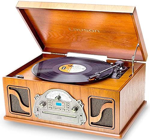 giradischi jukebox IVX22 Giradischi Multifunzione Bluetooth | Giradischi con Funzione di Codifica USB Riproduce e Registra MP3 | Lettore CD Radio FM | Design Vintage in Legno