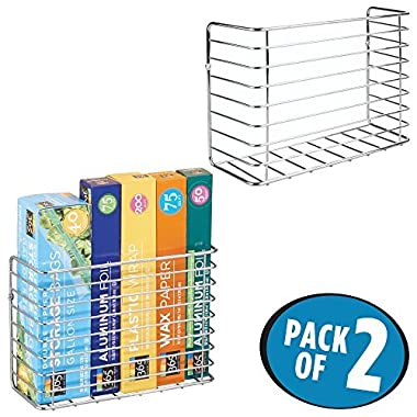 mDesign Wall & Cabinet Door Mount Kitchen Storage Organizer Basket Rack - Mount to Walls and Cabinet Doors in Kitchen, Pantry, and Under Sink - Pack of 2, Solid Steel Wire with Chrome Finish