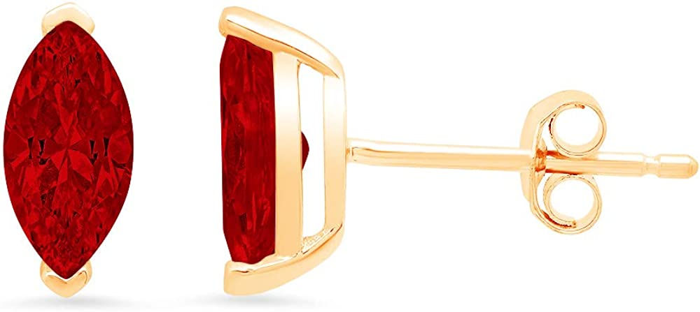 Clara Pucci 1.1 ct Brilliant Marquise Cut Solitaire VVS1 Flawless Natural Red Garnet Gemstone Pair of Stud Earrings Solid 18K Yellow Gold Butterfly Push Back