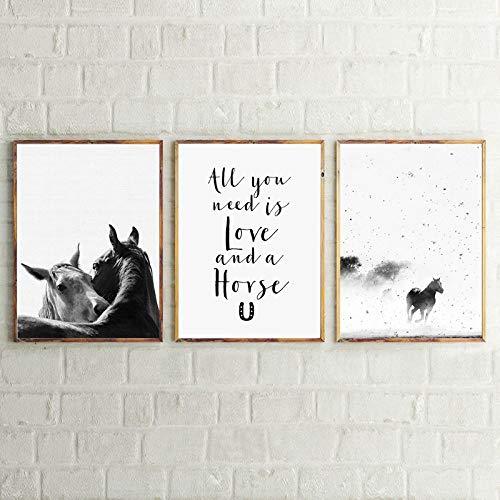 XIANRENGE Leinwanddrucke,3 Panel Tiere Laufen Pferde Schwarz Weiß Art Poster Moderne Leinwand Bild Wand Kunst Pop Cover Für Wohnzimmer Schlafzimmer Home Decor Handwerk,50X70Cmx 3 Ungerahmte