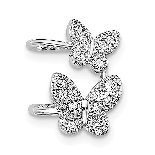 925 Sterling Silver Cubic Zirconia Cz Double Butterfly Right Cuff Earrings Animal Non Pierced Fine Jewelry For Women Gifts For Her
