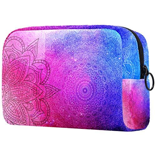 Trousse de toilette portable pour femme - Pour maquillage, cosmétiques, voyage - Bleu rose/turquoise