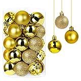 Annuus Weihnachtskugeln Gold, 34tlg Christbaumkugeln Set Plastik Weihnachtsbaum mit Abnehmbare Schnur,Weihnachts Kugeln klein für hängende Dekorationen Festival Urlaub Dekor(40MM,Gold)