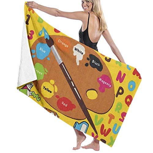 Lsjuee Toalla de Ducha, ABC Little Art Toallas de baño de Microfibra Toalla de Playa Grande Toalla de Ducha súper Absorbente Toallas Suaves para Viajes / Playa / Fitness / Yoga / SPA, 31 '51'
