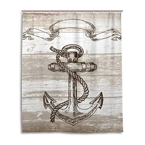 JSTEL Decor Rideau de Douche Motif Ancre 100% Polyester Tissu 152 x 183 cm