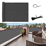 SUNNY GUARD Pantalla para Balcón Jardín Protección de Privacidad HDPE Resistente a los Rayos UV Protección contra el Viento, con Ataduras de Cables, 90x300cm Antracita