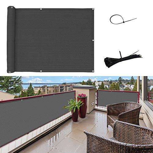 SUNNY GUARD Balkon Sichtschutz Balkonabdeckung HDPE UV-Schutz Windschutz Balkonverkleidung wetterfester mit Kabelbinder,75x600cm Anthrazit
