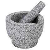 Evelyne GMT-10327 Unpolished Heavy Granite Mortar And Pestle Set Guacamole Bowl - Molcajete Stone Grinder With Pouring Lip Spout And Anti-Scratch Pad - 2 Cups Capacity