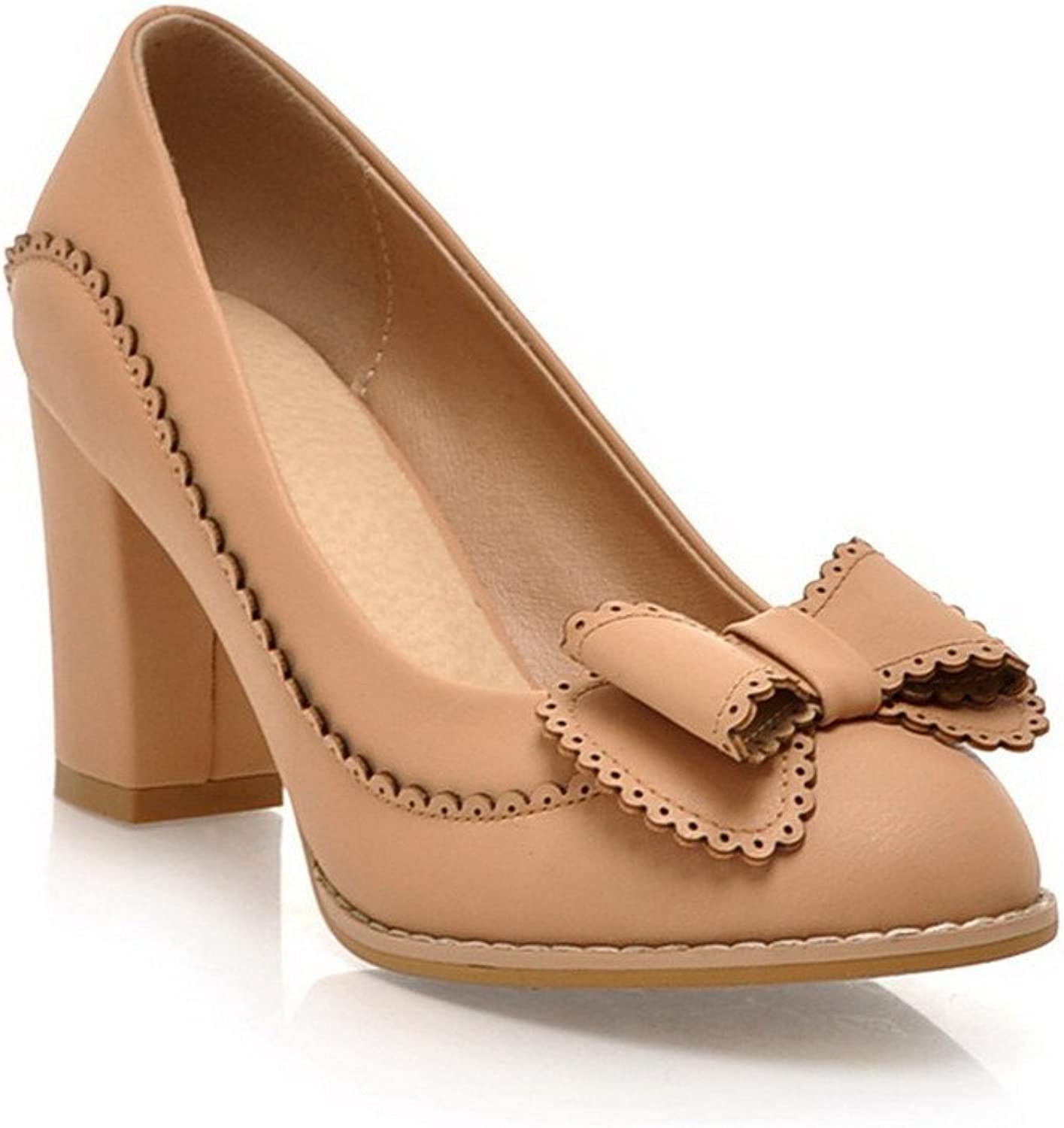 WeiPoot Women's Closed Round Toe Kitten Chunky Heels Soft Material Solid Pumps with Bow
