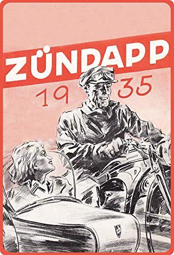 Metalen bord 20x30cm gebogen Zündapp Gespannen 1935 reclame affiche decoratie geschenk bord